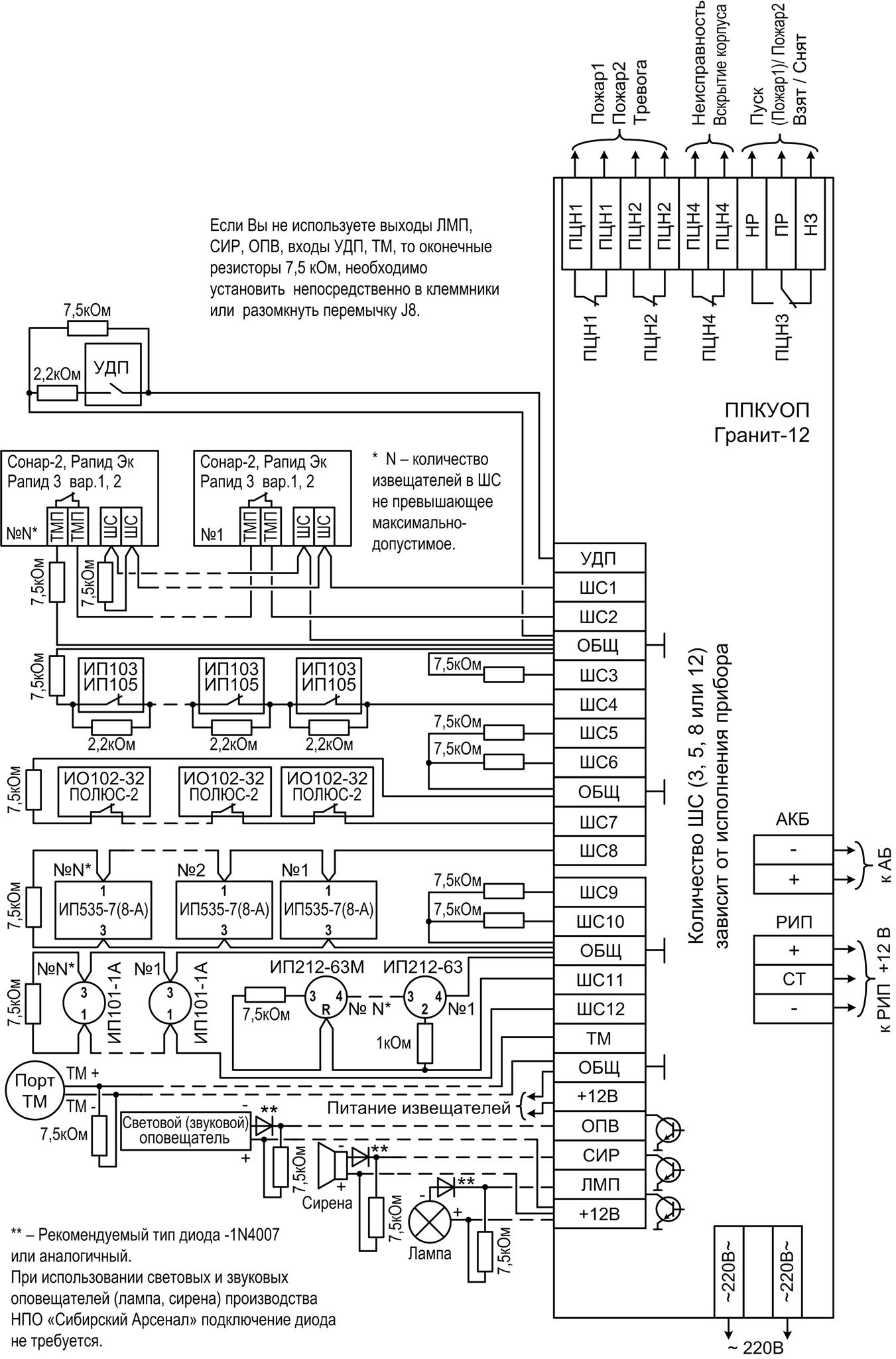 схема пожарной сигнализации упс тпс